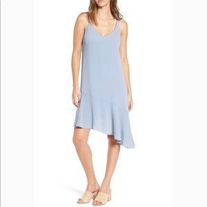 NEW Lush Asymmetrical Ruffled Hem Dress Blue Med